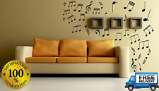 MUSICAL NOTES WALL STICKERS, 62 VARIOUS COLOUR PACK HOME CAR VAN LAPTOP BIN