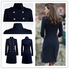 Ladies Double Breasted Princess Kate Long Jacket Cashmere Wool Blend Trench Coat