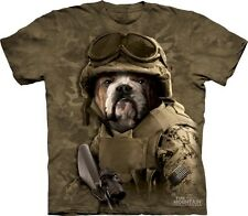 Combat Sam Bulldog Soldier Authentic The Mountain Adult T-Shirt