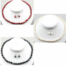 White red or black baroque pearl necklace earring set - balouli