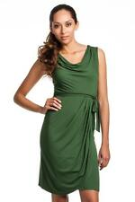BCBG Max Azria Lorraine Dress Dark Clover Green Draped Tie Jersey Cowl Neck NEW