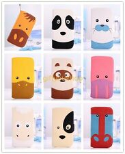 Forest Zoo Animal Flip Wallet Stand Leather Case Cover w/strap For iPhone/Galaxy