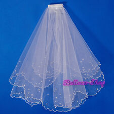 White 2 Tier Pearls Veil w/ Comb Wedding Bridal Flower Girl Holy Communion HA405