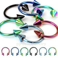"2pc 16g,14g~5/16""-1/2"" Anodized Spike Horseshoe Circular Barbell Septum Earrings"