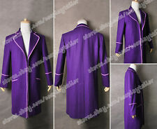 Charlie And The Chocolate Factory Willy Wonka Purple Trench Coat Cosplay Costume