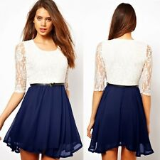 Trendy Women's Lady Clothing Crew Neck Half Sleeve Lace Shift Dress New Skirt
