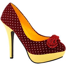Ladies Polka Dots Bow EVE Platform Stiletto High Heels Court Shoes UK Size 2.5-8