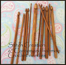 "6"" Carbonized Bamboo Crochet Hooks US sizes - NEW"