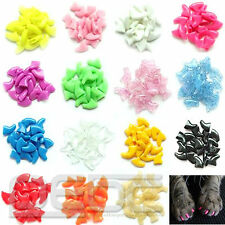 New Colorful 20pcs Soft Cat Pet Nail Caps Claw Control Paws off + Adhesive Glue#