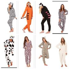 LADIES ONESIE ANIMAL HOODED ALL IN ONE PJS FLEECE FANCY DRESS JUMPSUIT SIZE6-18