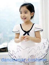 New Girls Short Sleeve Cotton Ballet Costume Tutu Kids Dance Leotard Skirt Dress