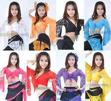New Sexy Belly Dance Bolero Lace Top Flared Blouse 11 Colors Belly Dancing Dress