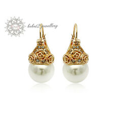 18K Rose/White Gold Plated Crystal Pearl Drop Earring/RGE014