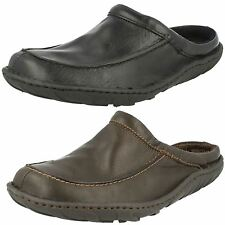 MENS CLARKS CLOSED IN TOE CLOGS LEATHER SLIP ON MULE SHOES KITE VASA FIT G