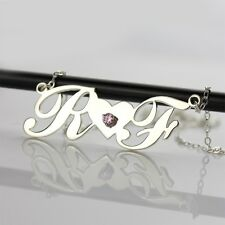 Personalized Carrie Style Name Necklace Silver Nameplate Necklace &Love Jewelry