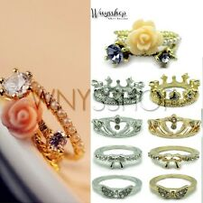 Women Ring Mini Gold Silver Flower Crown Wing Rose One Finger Ring Accessories