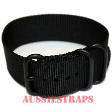 PREMIUM ZULU® PVD 3 Ring BLACK Military Diver's watch strap band Heavy Duty