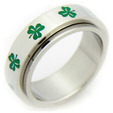 Irish Clover Spinner Ring Wedding Band for Men and Women St Patricks Day Jewelry