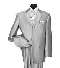 Men's High Quality 2 piece 3 Button Elegance Wool Feel Suit Silver 38R~56L