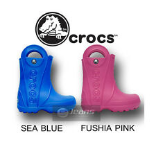 KIDS BOYS GIRLS CROCS HANDLE IT RAIN BOOTS FUSHIA PINK SEA BLUE WELLINGTONS