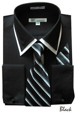 Men's Classic French Cuff Dress Shirt With Tie and Hankerchief 6 Colors 15~20