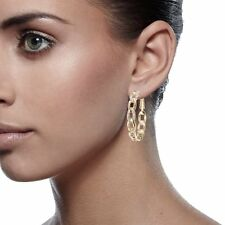 US 18K Gold Filled Round Hoop Crystal Pierced Earring 039