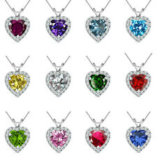 """6mm Heart Select Birth Gem Stone Silver Pendant Necklace 18"""" Chian"""