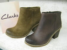 Clarks Marble Cool Dark Brown Leather or Khaki Suede Casual Ankle Boots