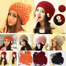 6 Colors Women's Girls' Beanie Hats with Tassel Knitted Woolen  Caps Free Size