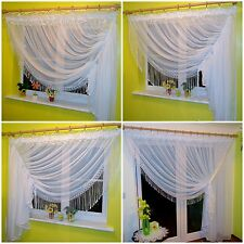Amazing White Voile Net Curtain with Lace Sizes for Small Window or Patio Door