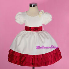 Cream Satin Puff Sleeves Dress Wedding Flower Girl Pageant Size 12Month-4T FG259