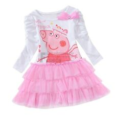 Pink Girls Peppa Pig Bowknot Top Dress Shirt Ruffle Tulle Tutu Skirt SZ 18M-6