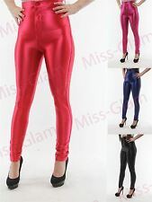Womens American Style Apparel Shiny Disco High Waisted Leggings Trousers Pants