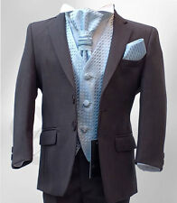 Boys Formal 5 Piece Grey & Baby Blue Page Boy Wedding Suit Age 6M to 15 Years