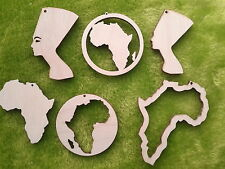 Earrings making wooden cut outs Africa in a circle African Map Nefertiti 5 pairs