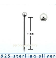 "3pc. 22g (0.6mm) .925 Sterling silver ""Bend it yourself"" Nose Stud (Choose Size)"