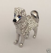 3D Crystal Siberian Husky Dog Pendant or Charm by Zedelle Jewellery - Animals