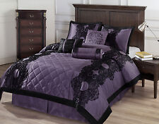 Victoria 7pc Comforter Set Purple, Black Floral Flocking - QUEEN Size Bed Cover