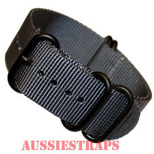 PREMIUM ZULU PVD 5 Ring GREY 20mm,22mm,24mm Military Diver's watch strap band