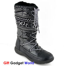 LADIES BOOTS WOMENS BOOTIES NEW MID CALF SLIP ON KNEE HIGH WINTER SHOES SIZE