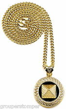 Pyramid Necklace New Egyptian 3D Pendant & 36  Inch Cuban Style 6 mm Pharaoh