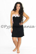 Pyjamas Ladies Summer PJs Black Lace Satin Nightie  Sz 8 10 12 14 16
