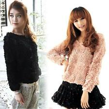 New Lace Rose Floral 3D Mesh Pullover Jumper Sweater Shirt Blouse Top 4 Colors