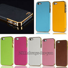 Hot Sales Luxury Leather Chrome Hard Back Case Cover For iPhone 5 5G
