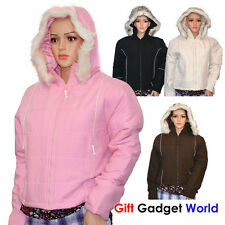 NEW LADIES QUILTED HOODED WOMENS PADDED ZIP POCKETS JACKET COAT WINTER UK 10-16