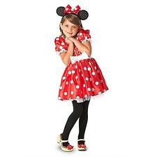 Disney Store Classic Minnie Mouse Red Sparkle Dress Costume Halloween NEW sizes