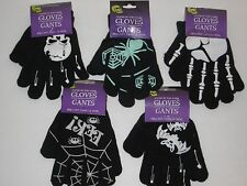 Children's Halloween Gloves - Glow N Dark, Skeleton, Skulls, Bats, One Size Fits