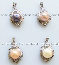 variations color 8-9mm freshwater pearl heart shape white gold plated pendant