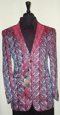 Mens Leonardi Flushed Red Blue Classic Paisley Blazer Dinner Jacket Style # 707