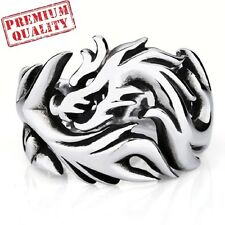 Vintage Men's Ring Round Dragon Titanium Steel Stainless Steel Ring